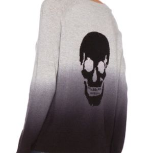 Skull Cashmere Dip Sweater with Skull on the Back!